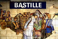 Ceramic tile painting decorated the Bastille metro station. Paris. France