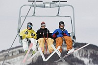 Three Skiers in a Lift (thumbnail)
