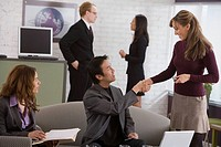Businesspeople shaking hands during meeting