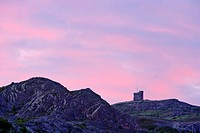 Signal Hill National Historic Site  View of Cabot Tower at dawn, St  John's, Newfoundland, Canada