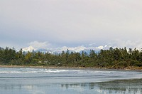 Distant Coast Mountains, Chesterman Beach, Tofino, Vancouver Island, BC