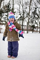 Young girl in winter hat and scarf, Regina, Saskatchewan, Canada