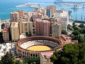 Panoramic vista of Málaga and its bullring from Gibralfaro castle. Andalucia. Spain