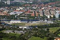 Aerial view of buildings in city, Lake Spandau, Suedhafen, Berlin, Germany