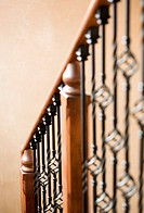 Detail of descending staircase banister