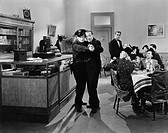 Policeman and a man dancing a tango in a restaurant All persons depicted are not longer living and no estate exists Supplier warranties that there wil...