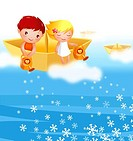 Boy and a girl on a paper boat spraying snowflakes with watering cans