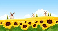 Sunflowers in a field with traditional windmills in the background