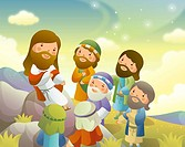 Jesus Christ in discussion with a group of men