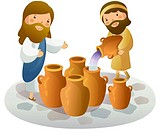 Man filling water into pottery and Jesus Christ gesturing him