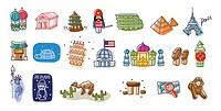 Close-up of international landmarks
