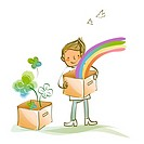 Man holding a cardboard box with a rainbow in it
