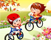 Boy and a girl riding bicycles