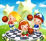 Two boys and a girl playing basketball