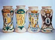 Apotheke, Gefäss, Fayence, Albarello, Spanien, 18 Jahrhundert, Keramik, Wappen, Kunst, historisch, Medizin,