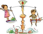 Couple on a weighing scale