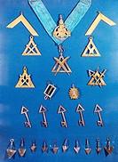 Freimaurer, Winkel Abzeichen, Logen Schlüssel, Johannes Loge, München Deutschland, um 1900 historisch, Kunst, Logo,