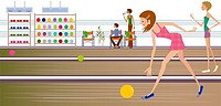 Side profile of a woman bowling in a bowling alley