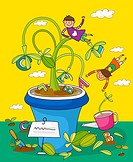 Children playing with potted plants