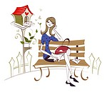 Woman sitting on the bench and writing a love letter