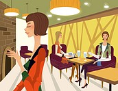 Three women in a restaurant
