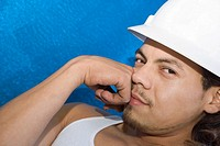 Portrait of a male construction worker thinking