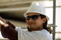 Close-up of a male construction worker smiling