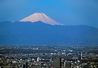 Aerial view of Tokyo, Japan with Mt  Fuji