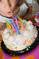 High angle view of a girl blowing candles on her birthday cake