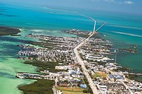 Aerial view of a city by the sea, Florida Keys, Florida, USA