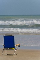Lounge chair on the beach, Daytona Beach, Florida, USA