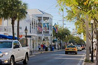 Cars moving on the road, Duval Street, Key West, Florida, USA