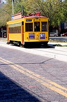 Tram moving in a city, Ybor City, Tampa, Florida, USA