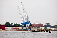 Cranes at a commercial dock, Baltimore, Maryland, USA