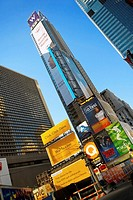Low angle view of skyscrapers in a city, Times Square, Manhattan, New York City, New York State, USA
