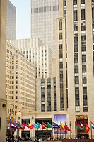 Low angle view of skyscrapers in a city, Rockefeller Center, Manhattan, New York City, New York State, USA