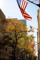 Low angle view of American flags fluttering on a building, Fifth Avenue, Manhattan, New York City, New York State, USA