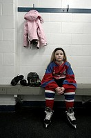 Young Girl in Hockey Dressing Room