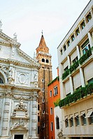 Low angle view of the bell tower and a church, Venice, Italy