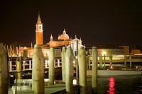 Church lit up at night, Church of San Giorgio Maggiore, Grand Canal, Venice, Italy