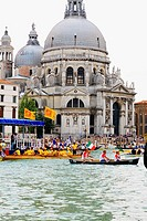 Gondolas in front of a church, Regatta Storica, Santa Maria Della Salute, Venice, Italy