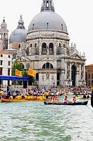 Gondolas in front of a church, Regatta Storica, Santa Maria Della Salute, Venice, Italy