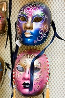 Close-up of two masquerade masks, Venice, Italy