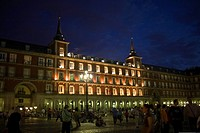 Plaza lit up at night, Plaza Mayor, Madrid, Spain