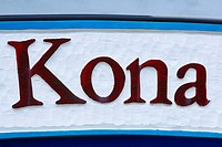 Close-up of text, Kona, Big Island, Hawaii Islands, USA