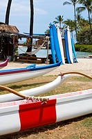 Outriggers and surfboards on the beach, Kona, Big Island, Hawaii Islands, USA