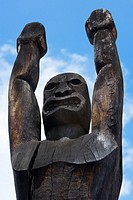 Low angle view of a wooden statue, Ahuena Heiau, Kailua-Kona, Kona, Big Island, Hawaii Islands, USA