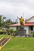 Statue in front of a building, Kamehameha Statue, Kappau, Hawaii Islands, USA
