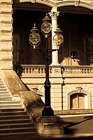 Lamppost in front of a government building, State Capitol Building, Iolani Palace, Honolulu, Oahu, Hawaii Islands, USA