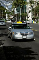 Taxi moving on the road, Honolulu, Oahu, Hawaii Islands, USA